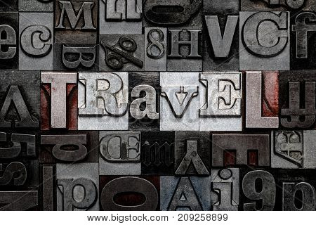 The word Travel made from old metal letterpress letters