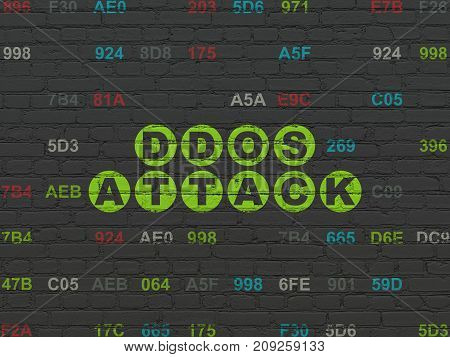 Protection concept: Painted green text DDOS Attack on Black Brick wall background with Hexadecimal Code