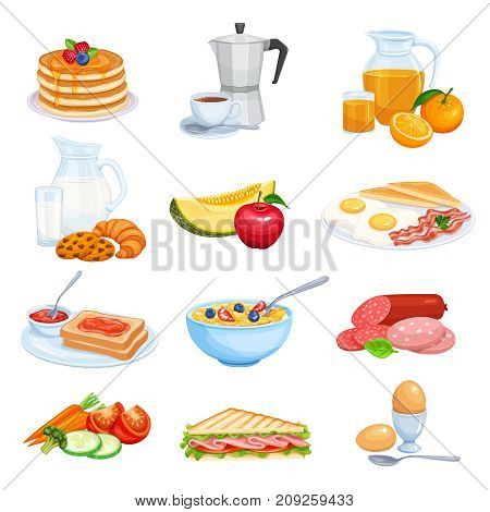 Vector set breakfast icons. Jug of milk, coffee pot, cup, fruits and vegetables. Baking, orange juice, sandwich and fried eggs. Pancakes and toast with jam.