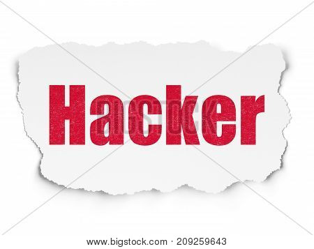 Safety concept: Painted red text Hacker on Torn Paper background with  Tag Cloud