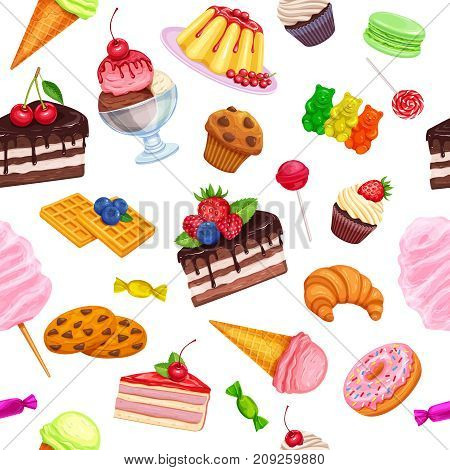 Vector seamless pattern with confectionery and sweets icons. Dessert, lollipop, ice cream with candies, macaron and pudding. Donut and cotton candy, muffin, waffles, biscuits and jelly.