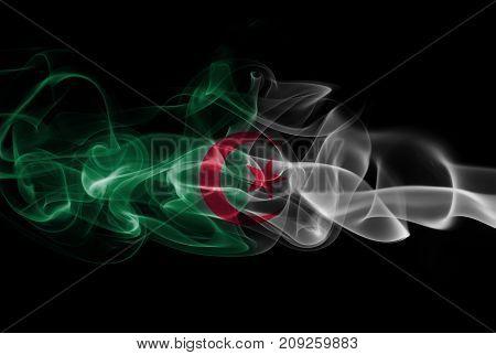 Algeria smoke flag isolated on black background