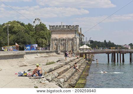 Evpatoria, Republic of Crimea, - July 21, 2017: Embankment named after Tereshkova in the resort town of Evpatoria, Crimea