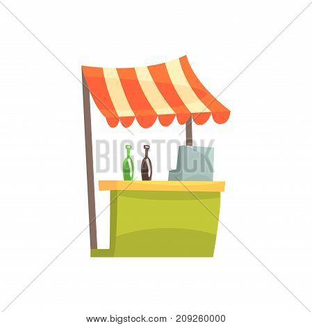 Food stall with drinks, fixed market stall for external usage cartoon vector Illustration isolated on a white background