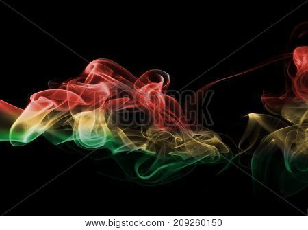 Bolivia smoke flag isolated on black background