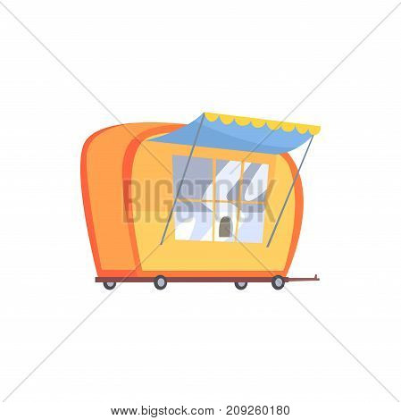 Street fast food trailer cartoon vector Illustration isolated on a white background