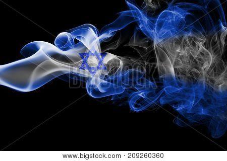 Israel smoke flag isolated on black background