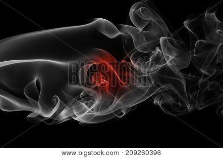 Japan flag smoke isolated on black background