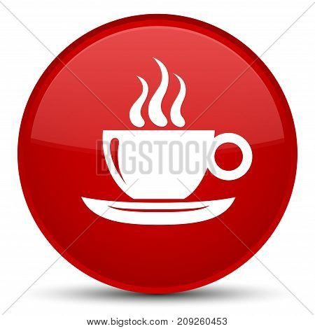 Coffee Cup Icon Special Red Round Button