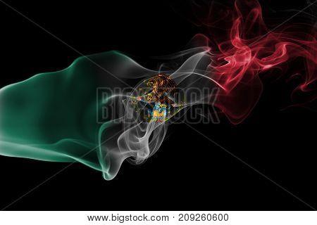 Mexico smoke flag isolated on black background
