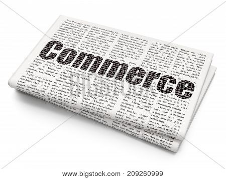 Finance concept: Pixelated black text Commerce on Newspaper background, 3D rendering