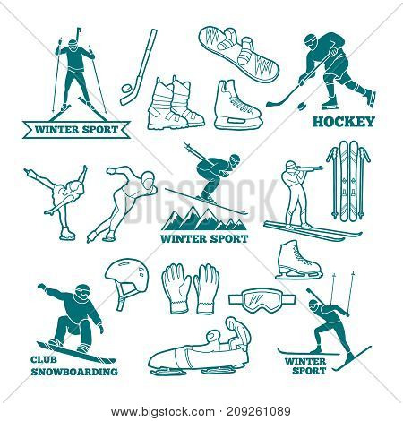 Biathlon, sled, skis and other winter sports monochrome illustrations. Symbols for labels and logos design. Vector of winter sport ski and snowboard