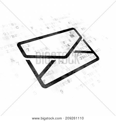 Finance concept: Pixelated black Email icon on Digital background