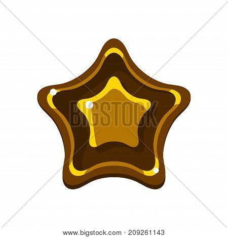 Bright colored cartoon glossy jelly star vector Illustration isolated on a white background