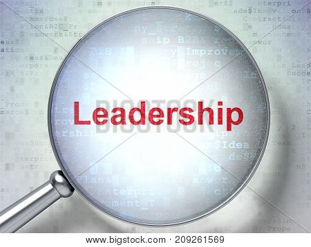 Finance concept: magnifying optical glass with words Leadership on digital background, 3D rendering