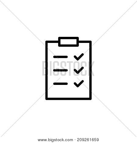 Check list flat icon. Single high quality outline symbol of happy birthday for web design or mobile app. Thin line signs of holiday for design logo, visit card, etc. Outline logo of celebration