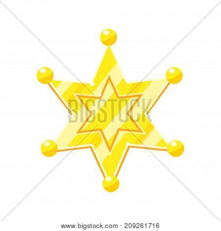 Sheriff marshal golden cartoon glossy star vector Illustration isolated on a white background