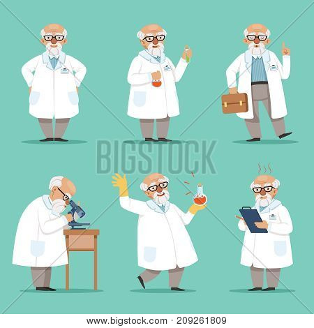 Character of old scientist or chemist. Mascot design of crazy professor. Male teacher. Vector pictures set. Chemist and scientist professor, experiment and science illustration