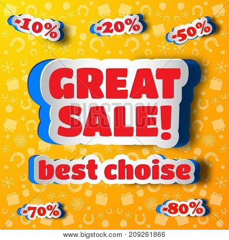 Great sale design concept in paper style with discount stickers application on yellow background flat vector illustration