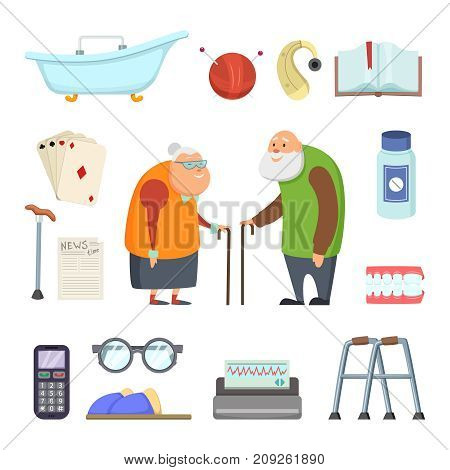 Old couple with assistants tools. Vector illustrations set in cartoon style. Elderly people care, medical crutch and help healthcare, assistance and support