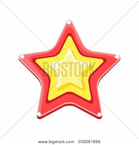Bright colored cartoon star vector Illustration isolated on a white background