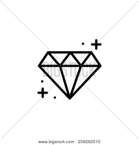Diamond flat icon. Single high quality outline symbol of happy birthday for web design or mobile app. Thin line signs of holiday for design logo, visit card, etc. Outline logo of celebration