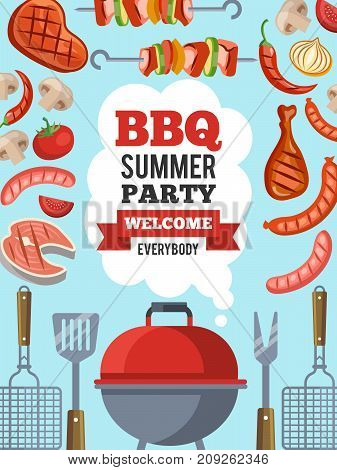 Design template of invitation for bbq party. Vector poster barbecue party card invitation with place for your text illustration
