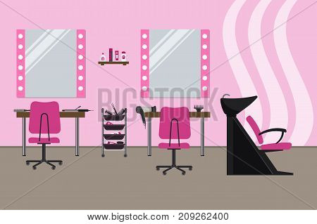 Interior of a hairdressing salon in a pink color. Beauty salon. There are tables, chairs, a bath for washing the hair, mirrors, hair dryer, combs and other objects in the picture. Vector illustration