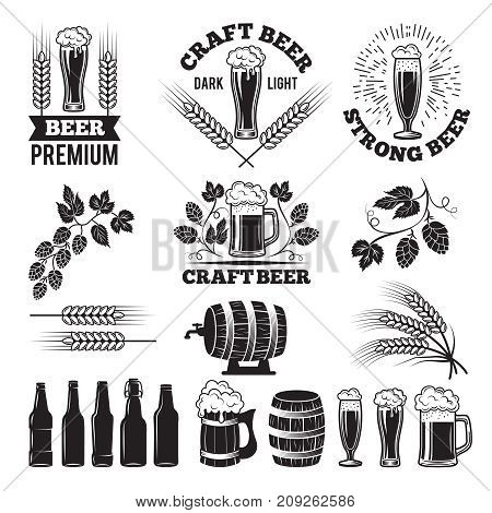 Beer pub labels set. Logo design elements. Brewery beer label, brewery logo and badge, vector illustration