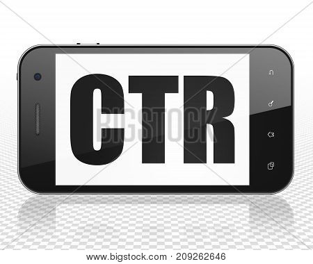 Business concept: Smartphone with black text CTR on display, 3D rendering