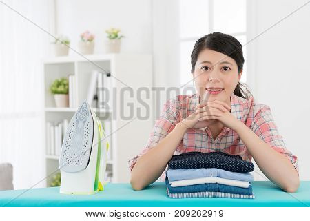 Attractive Housewife Leaning On Ironing Board