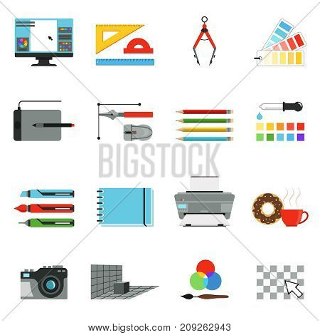 Graphic and computer design. Different tools for artists and graphic designers. Vector icons set in cartoon style. Drawing digital pen, tablet and brush equipment instrument illustration