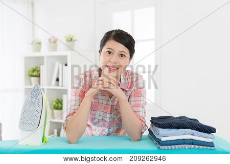 Confident Young Housewife Ironing Clothing At Home
