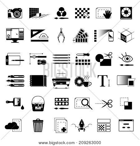 Creative tools for graphic artists or web designers. Vector monochrome black illustrations. Tools drawing and equipment ruler and paintbrush, function delete and add