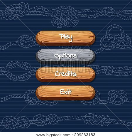 Vector cartoon style wooden enabled and disabled buttons with text for game design on rope knotes stripy background. Illustration of wood gui buttons option and credits, exit and play
