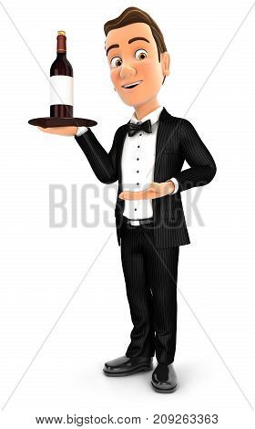 3d waiter standing with red wine bottle illustration with isolated white background