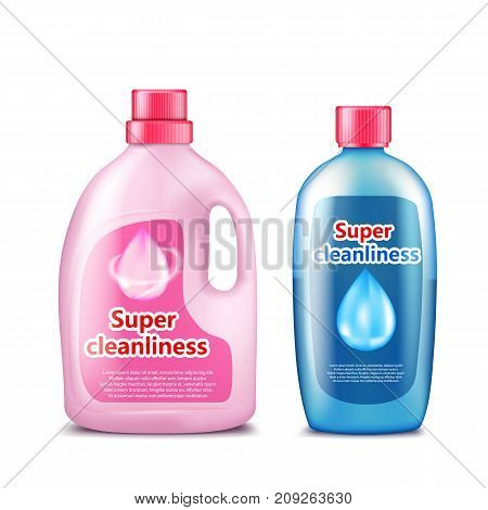 Branded household chemicals pink and blue plastic bottles with brand information realistic vector template isolated on white background. Detergent, toilet cleaner, liquid soap, stain remover mockup
