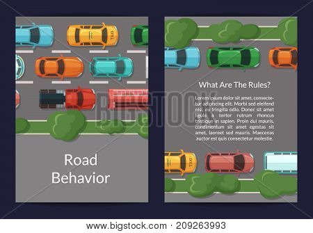 Vector cars on the road with grass and trees on the sidelines top view card or flyer template. Color cars on road speedway illustration