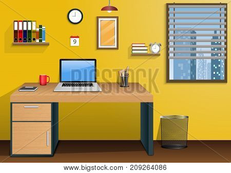 Vector illustration of Workplace in room with view city at window