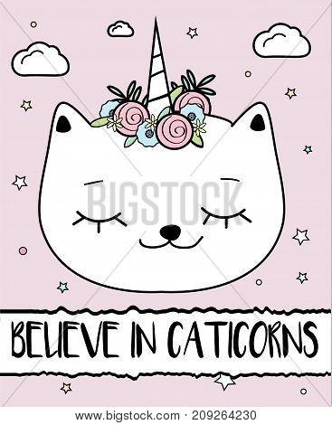 Doodle cat with unicorn horn. Caticorn. Modern postcard print design template. Inspirational greeting card.