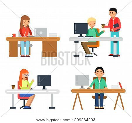 Freelancers male and female at computer workspace. Illustrations of coworkers in flat style. Vector freelancer in office coworking