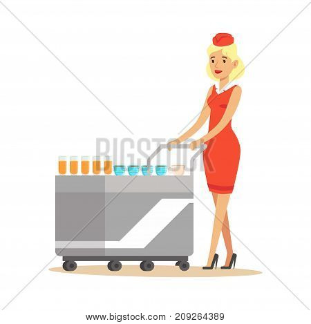 Stewardess in red uniform serving passengers on the airplane with cart, flight attendant on airplane vector Illustration on a white background