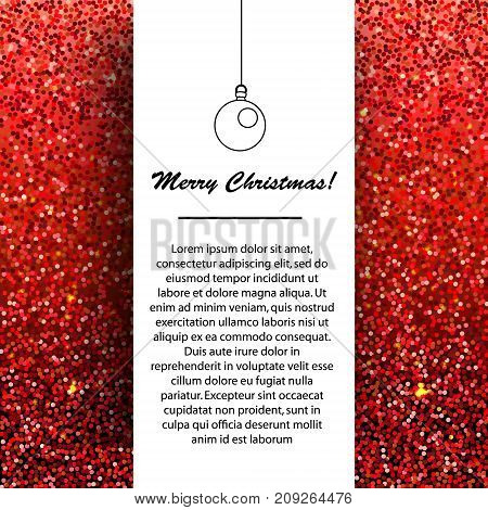 New Year and Christmas banner design template. Seasonal winter holidays greetings on red glittering background. For invitations cards mail and etc