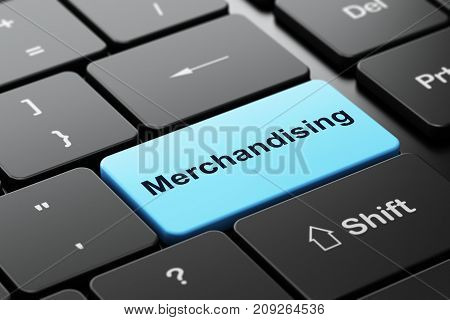 Marketing concept: computer keyboard with word Merchandising, selected focus on enter button background, 3D rendering