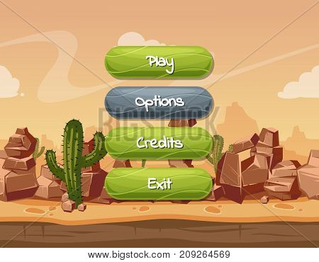 Vector cartoon style wavy enabled and disabled buttons with text for game design on orange rocks, sky and cactus desert landscape background. Button panel for game interface illustration