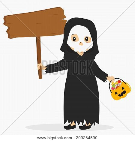 Halloween cartoon vector. a boy wearing grim reaper costume for Halloween party, carrying pumpkin bucket and holding an empty wooden sign