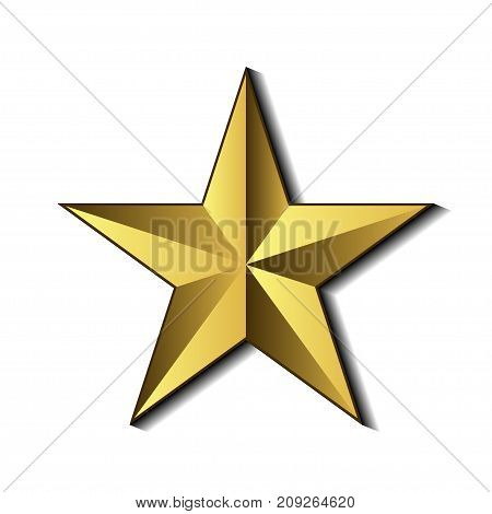 Illustration of a golden star on a white background