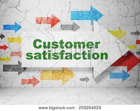 Marketing concept:  arrow with Customer Satisfaction on grunge textured concrete wall background, 3D rendering