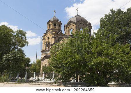 St. Ilyinsky temple on the embankment of the resort city of Evpatoria, Crimea, Russia