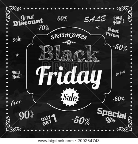Black friday background with vintage frame and taglines on theme of selling in chalkboard design flat vector illustration